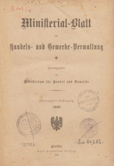 Ministerialblatt der Handels- und Gewerbe-Verwaltung. Herausgegeben Königliches Ministerium für Handel und Gewerbe, 1920.03.16 nr 5