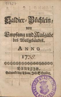 Saldier-Büchlein von Empfang und Ausgabe des Wallgebäudes