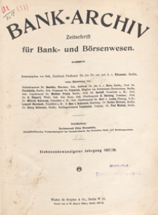 Bank-Archiv. Zeitschrift für Bank- und Börsenwesen, 1927.10.15 nr 2