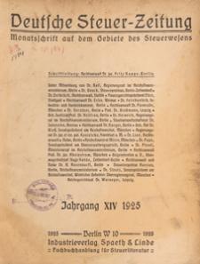 Deutsche Steuer Zeitung : Älteste Monatsschrift auf dem Gebiete des Steuerwesens, 1925 nr 6