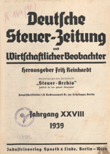 Deutsche Steuezeitung und Wirtschaftlicher Beobachter, 1939.05.04 nr 17-18
