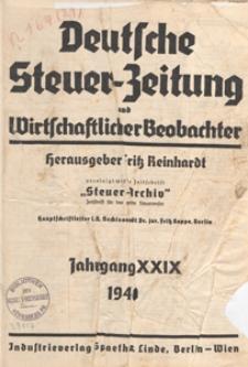 Deutsche Steuezeitung und Wirtschaftlicher Beobachter, 1940.11.23 nr 47