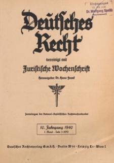 Deutsches Rechtvereinigt mit Juristische Wochenschrift : Zentralorgan des National-Sozialistischen Rechtswahrerbundes. Bd 1, 1940.01.06 H. 1