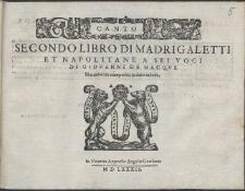 Secondo Libro Di Madrigaletti Et Napolitane A Sei Voci /
