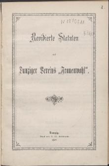 """Revidierte Statuten des Danziger Vereins """"Frauenwohl""""."""