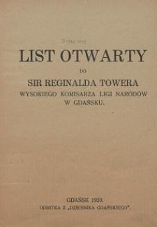 List otwarty do Sir Reginalda Towera Wysokiego Komisarza Ligi Narodów w Gdańsku