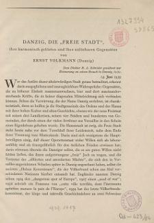 """Danzig : Die """"Freie Stadt"""", ihre harmonisch gelösten und ihre unlösbaren Gegensätze"""