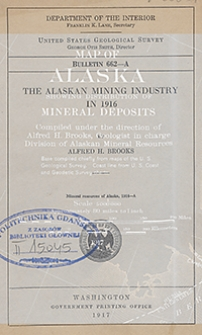 Bulletin 662-A. The alaskan mining industry in 1916