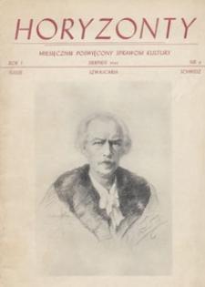 Horyzonty : miesięcznik poświęcony sprawom kultury, 1946.08 nr 8