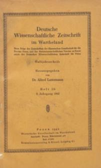 Deutsche Wissenschaftliche Zeitschrift im Wartheland : neue Folge der Zeitschriften der Historischen Gesellschaft für die Provinz Posen, 1942 H. 5/6