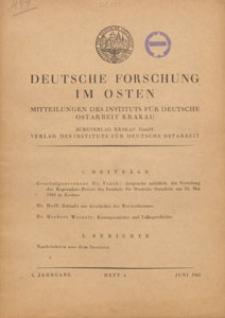 Deutsche Forschung im Osten : Mitteilungen des Instituts für Deutsche Ostarbeit Krakau, 1943.06 H. 4