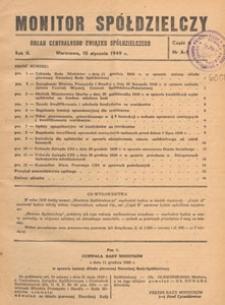Monitor Spółdzielczy : oficjalny organ Centralnego Związku Spółdzielczego, 1949.01.10 nr 1