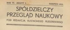 Spółdzielczy Przegląd Naukowy, 1933.08 z 8