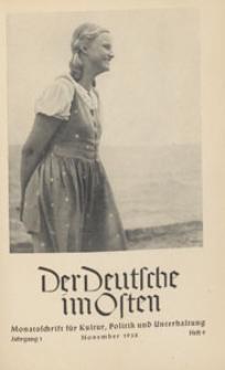 Der Deutsche im Osten : Monatsschrift für Kultur, Politik und Unterhaltung, 1938 H. 9