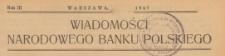 Wiadomości Narodowego Banku Polskiego, 1947, spis rzeczy
