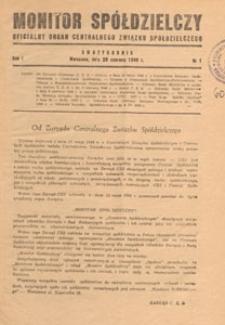 Monitor Spółdzielczy : oficjalny organ Centralnego Związku Spółdzielczego, 1948.09.08 nr 6