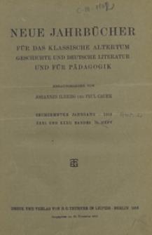 Neue Jahrbücher für das Klassische Altertum Geschichte und Deutsche Litteratur und für Pädagogik, 1913 Jg. 16 Abt. 2 H. 5