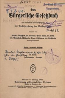 Das Bürgerliche Gesetzbuch mit besonderer Berücksichtigung der Rechtsprechung des Reichsgerichts. Bd. 3, Familienrecht, Erbrecht