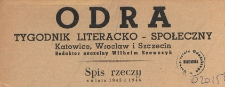 Odra : pismo literacko-społeczny, 1946, spis rzeczy za lata 1945 i 1946
