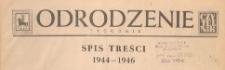 Odrodzenie : tygodnik, spis treści 1944-1946