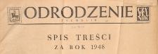Odrodzenie : tygodnik, 1948, spis treści