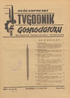 Ogólnopolski Tygodnik Gospodarczy : informator przedsiębiorcy prywatnego, 1949.08.21 nr 22