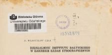 Działalność Instytutu Bałtyckiego w zakresie badań etnograficznych