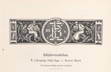Zeitschrift für Bücherfreunde : Monatshefte für Bibliophilie und verwandte Interessen, 1898/1899 Bd. 1, Inhaltverzeichnis