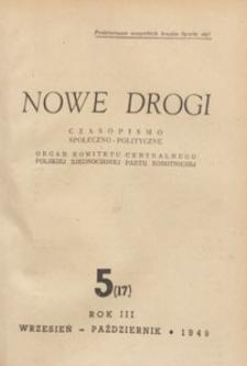 Nowe Drogi : czasopismo społeczno-polityczne, 1949.09.10 nr 5
