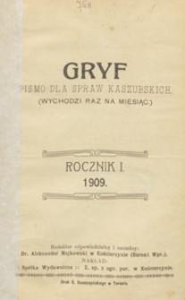 Gryf : pismo dla spraw kaszubskich, 1909, treść rocznika