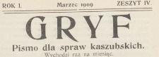 Gryf : pismo dla spraw kaszubskich, 1909.03 z. 4