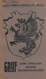 Gryf : pismo poświęcone sprawom kaszubsko-pomorskim, 1921.10-12 nr 4