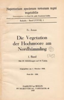 Repertorium Specierum Novarum Regni Vegetabilis : Beihefte, 1934 Bd 78 1. Band