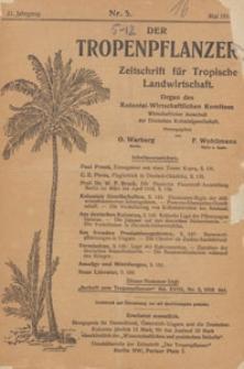 Der Tropenpflanzer : Zeitschrift für tropische Landwirtschaft : Organ des Kolonial-wirtschaftlichen Komitees, 1918.05 nr 5