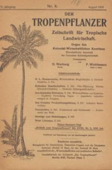 Der Tropenpflanzer : Zeitschrift für tropische Landwirtschaft : Organ des Kolonial-wirtschaftlichen Komitees, 1918.08 nr 8