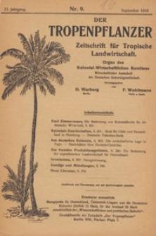 Der Tropenpflanzer : Zeitschrift für tropische Landwirtschaft : Organ des Kolonial-wirtschaftlichen Komitees, 1918.09 nr 9