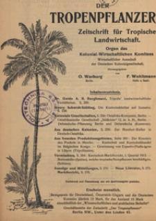 Der Tropenpflanzer : Zeitschrift für tropische Landwirtschaft : Organ des Kolonial-wirtschaftlichen Komitees, 1914, Inhaltsverzeichnis