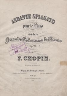 """Andante Spianato : tire de la """"Grande Polonaise Brillante"""" : G-dur op.22 : pour le piano"""