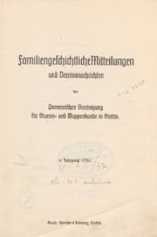 Familiengeschichtliche Mitteilungen und Vereinsnachrichten der Pommerschen Vereinigung für Stamm- und Wappenkunde in Stettin