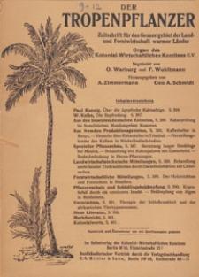 Der Tropenpflanzer : Zeitschrift für das gesamgebiet der Land und Forstwirtschaft warmer Länder : Organ des Kolonial-wirtschaftlichen Komitees, 1934, Inhaltsverzeichnis