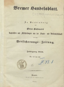 Beilage zu Nr. 161 des Bremer Handelsblattes, 1854