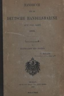 Handbuch für die Deutsche Handels-Marine auf das Jahr 1908, Inhaltsverzeichnis