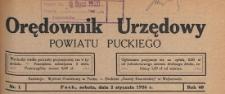 Orędownik Urzędowy Powiatu Puckiego, 1926, skorowidz