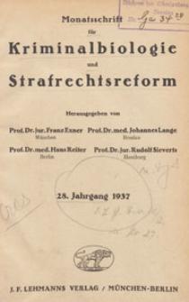 Monatsschrift für Kriminalbiologie und Strafrechtsreform, 1937 H. 8