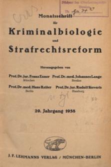 Monatsschrift für Kriminalbiologie und Strafrechtsreform, 1938 H. 11