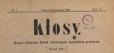 Kłosy : organ Związku Kółek Rolniczych Zachodnio-Pruskich, 1909.01.01 nr 1