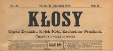 Kłosy : organ Związku Kółek Rolniczych Zachodnio-Pruskich, 1909.09.11 nr 37