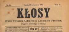 Kłosy : organ Związku Kółek Rolniczych Zachodnio-Pruskich, 1909.09.25 nr 39