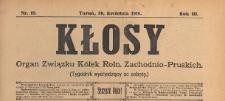 Kłosy : organ Związku Kółek Rolniczych Zachodnio-Pruskich, 1910.04.30 nr 18