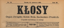 Kłosy : organ Związku Kółek Rolniczych Zachodnio-Pruskich, 1910.06.11 nr 24